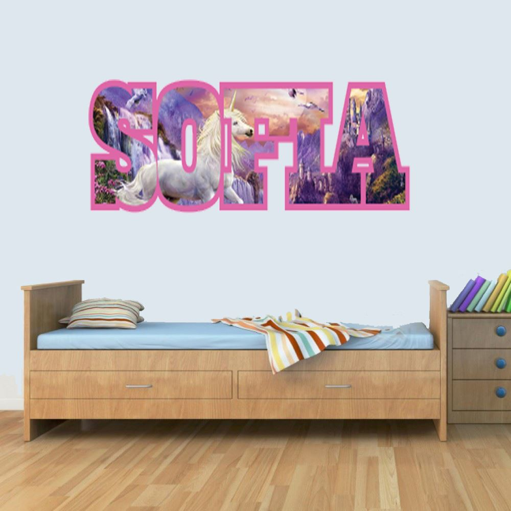 M Customisable Unicorn Childrens Name Wall Art Decal Vinyl Stickers for Boys/Girls Bedroom