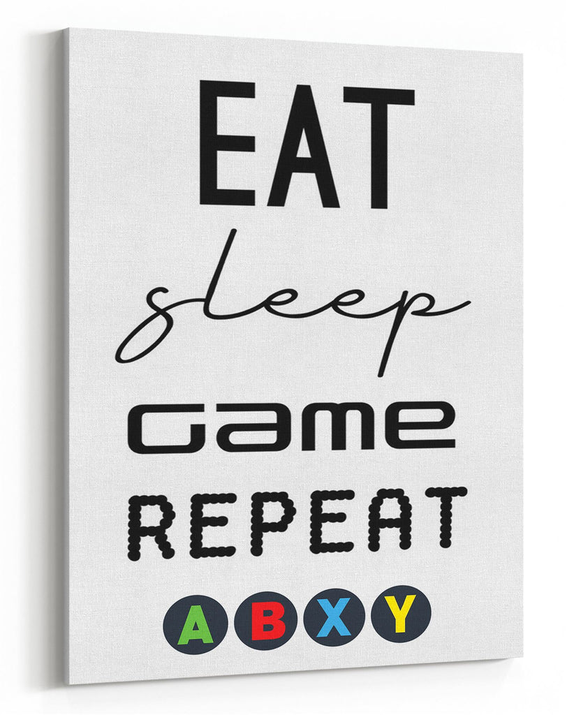 GnG Gaming A4 Word Quote Canvas For Kids Bedrooms Artwork Eat Sleep Game XB