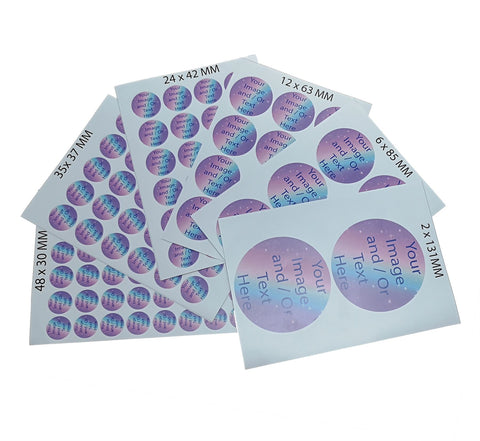 GNG Round / Custom Small Vinyl Sticker Bulk Printing Image Logo Text Postage Labels Personalised