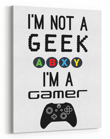 GnG Gaming A4 Word Quote Canvas For Kids Bedrooms Artwork Not a Geek XB