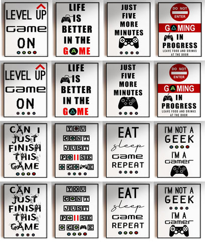 GnG Gaming Word Quote Framed Posters For Kids Bedrooms Artwork