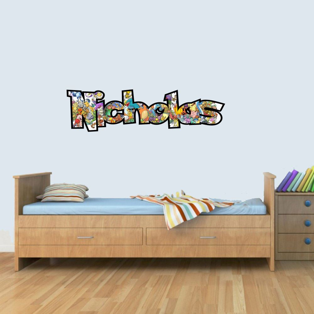 M Customisable Pokemon Childrens Name Wall Art Decal Vinyl Stickers for Boys/Girls Bedroom