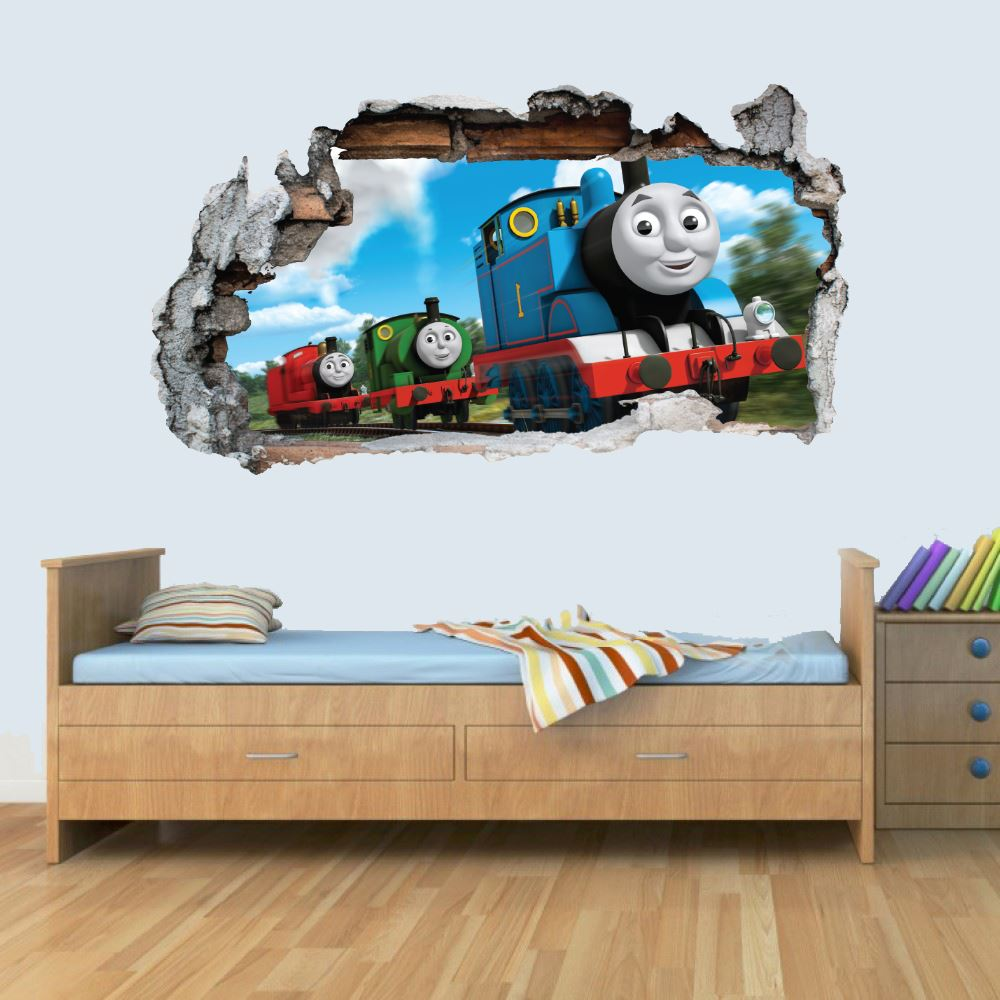 GNG Trains 3D Smashed Wall Art Decal Vinyl Sticker Boys Girls Bedroom Trains L