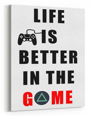 GnG Gaming A4 Word Quote Canvas For Kids Bedrooms Artwork Life Is Better PS