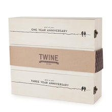 Load image into Gallery viewer, Newlywed's Anniversary Wooden Wine Box by Twine®