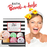 Bath Bombs Gift Set - Luxury Bath Fizzies - 6 Large Natural Bath Balls - US Made - La Bomba - Pure Scentum