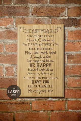Personalised Family Rules Plaque - The Laser Artist