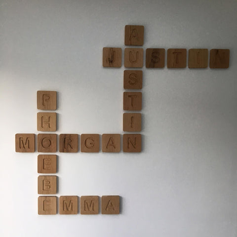 Oak Scrabble wall blocks