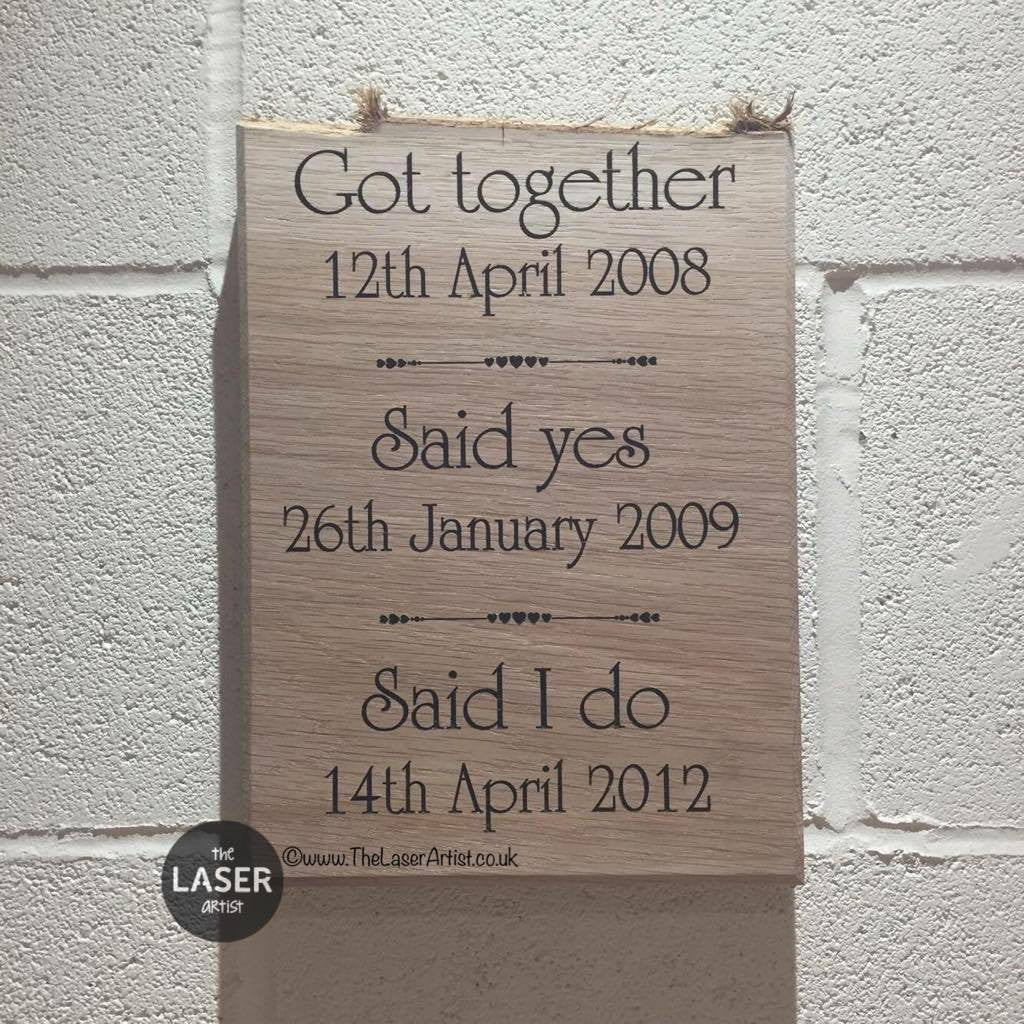 Our Relationship History Oak Plaque - The Laser Artist - 1