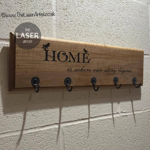 Oak Key Hanger Engraved with Hooks - The Laser Artist - 1