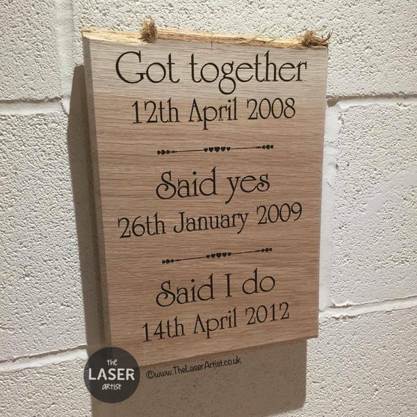 Our Relationship History Oak Plaque - The Laser Artist - 2