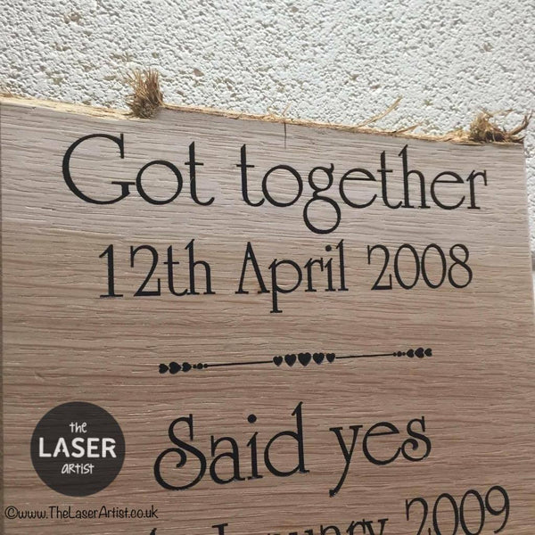 Our Relationship History Oak Plaque - The Laser Artist - 3