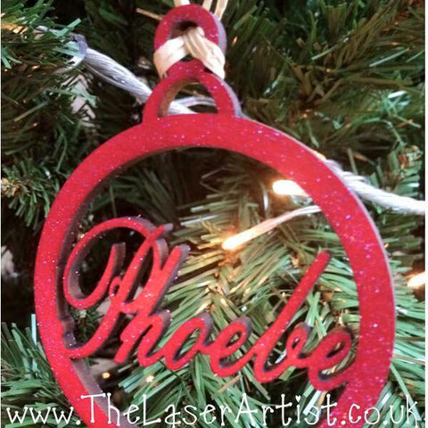 Christmas Bauble - Red glitter - The Laser Artist