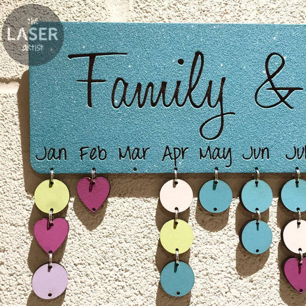 LIMITED Glitter Blue Family & Friends Birthdays Board with Tallies - The Laser Artist - 3