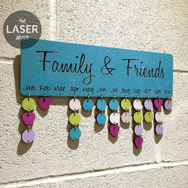 LIMITED Glitter Blue Family & Friends Birthdays Board with Tallies - The Laser Artist - 1