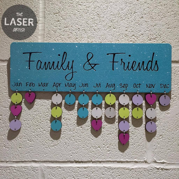LIMITED Glitter Blue Family & Friends Birthdays Board with Tallies - The Laser Artist - 2