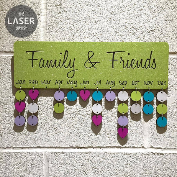 LIMITED Glitter Lime Family & Friends Birthdays Board with Tallies - The Laser Artist - 1