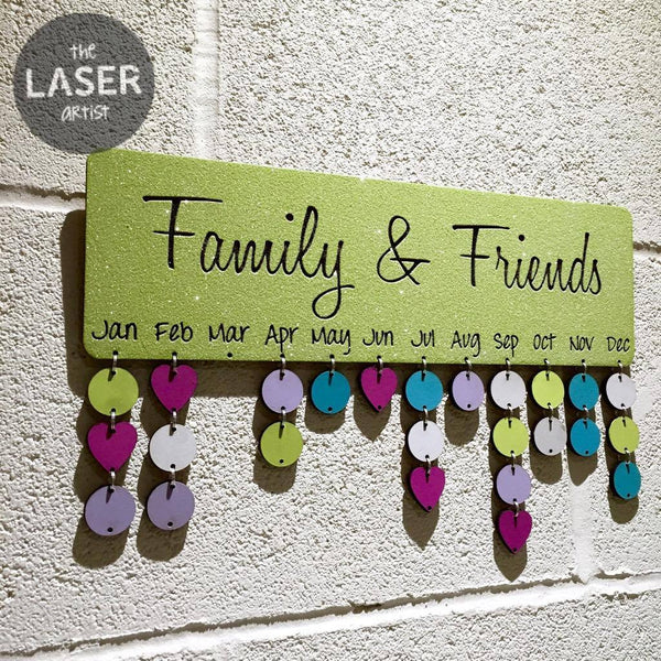 LIMITED Glitter Lime Family & Friends Birthdays Board with Tallies - The Laser Artist - 3