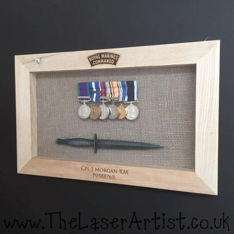 Royal Marine Framed Medals & Dagger - The Laser Artist - 1