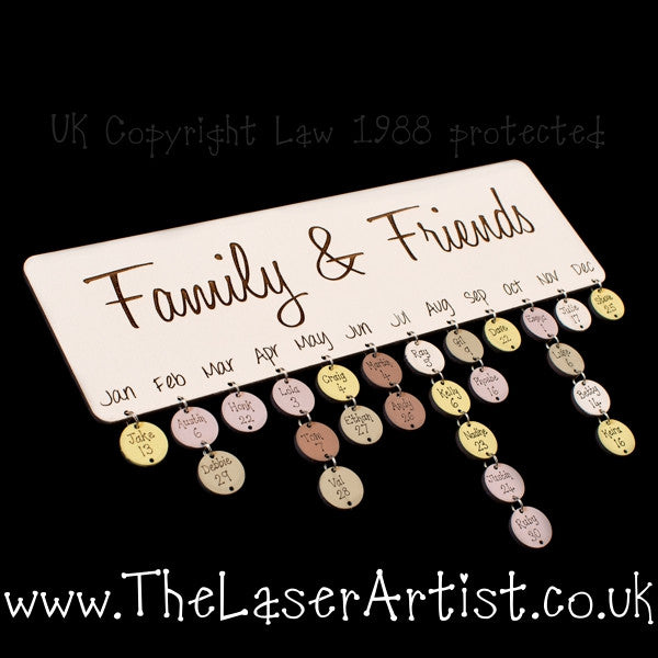 NEW Family & Friends Birthday Board with Tallies - The Laser Artist - 1