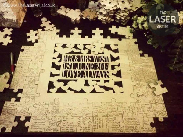 Personalised Wedding Puzzle Guest book - The Laser Artist - 1