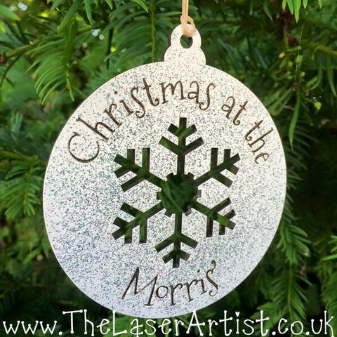 Christmas at the 'Family name' Bauble - Silver glitter - The Laser Artist