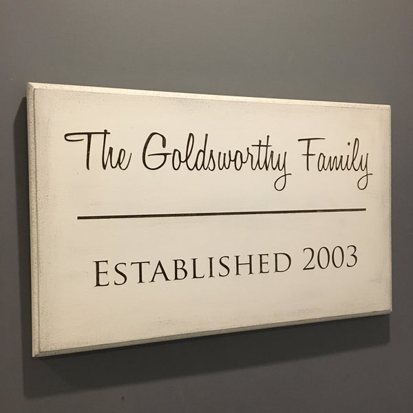 Family Established Large Wall Plaque