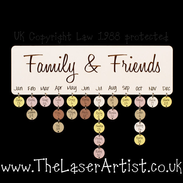 NEW Family & Friends Birthday Board with Tallies - The Laser Artist - 2