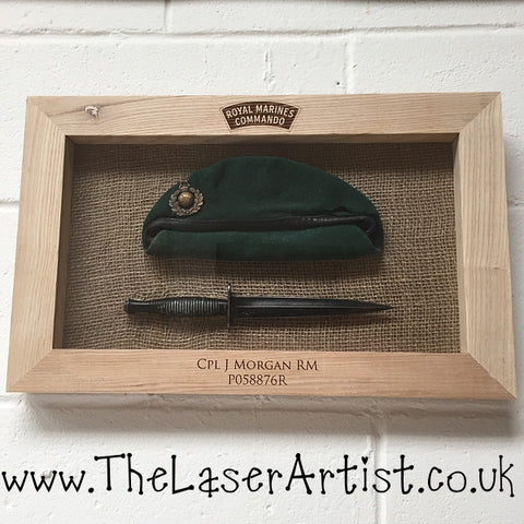 Royal Marines Oak Framed Beret/Dagger - The Laser Artist - 1