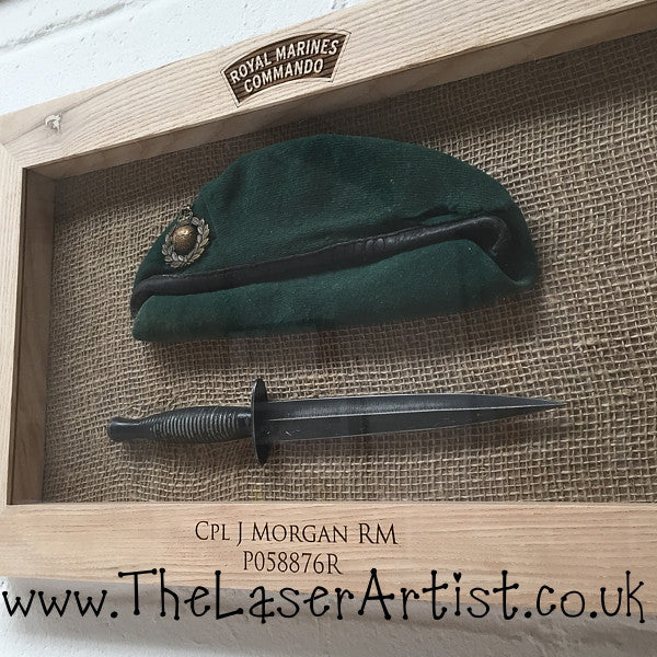 Royal Marines Oak Framed Beret/Dagger - The Laser Artist - 2