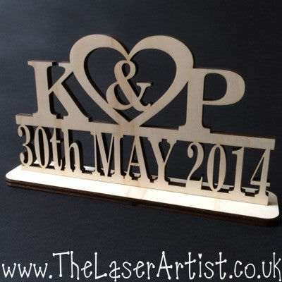 Wedding Freestand Initial with Date - The Laser Artist - 1
