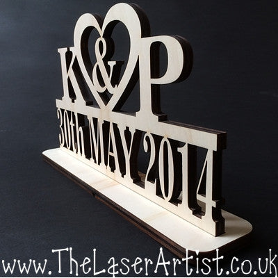 Wedding Freestand Initial with Date - The Laser Artist - 2