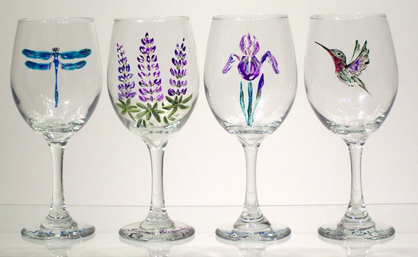 hand-painted stemmed wine glasses