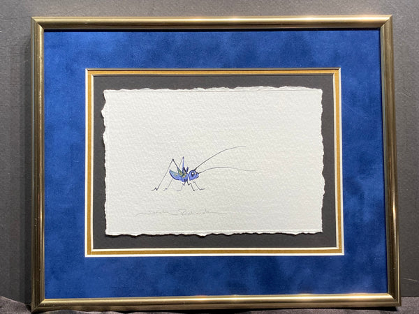 Lucky Cricket with 23K gold leaf original watercolor