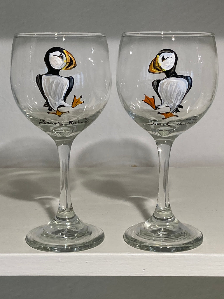 Puffin stemmed wine glasses (pair)