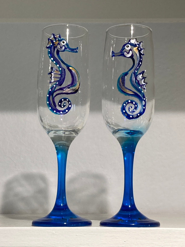 Sea horse blue stemmed flute glasses (pair)