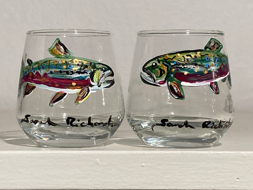 "Hand painted pair of blue wine glasses ""Lobsters"""