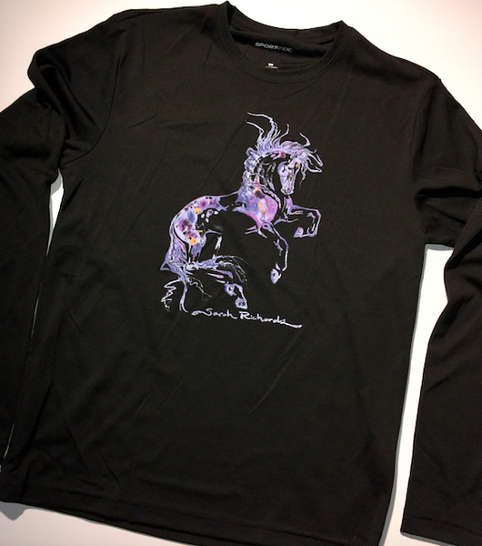 """Purple Horse"" on Black Athletic long sleeve shirt"