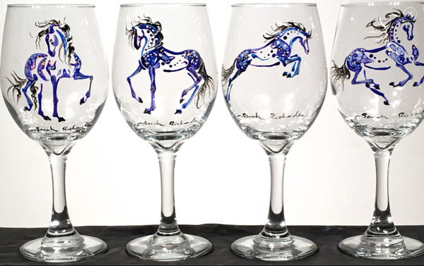 Hand-painted stemmed wine glasses- equine inspired