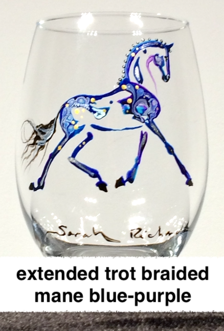 Hand-painted stemless wine glasses- equine inspired