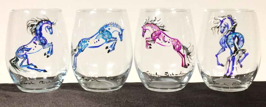 Hand-painted stemless wine glass- equine inspired