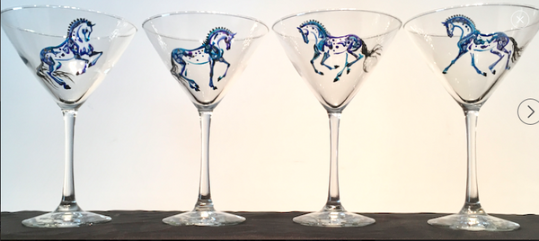 Hand-painted martini glasses- equine inspired