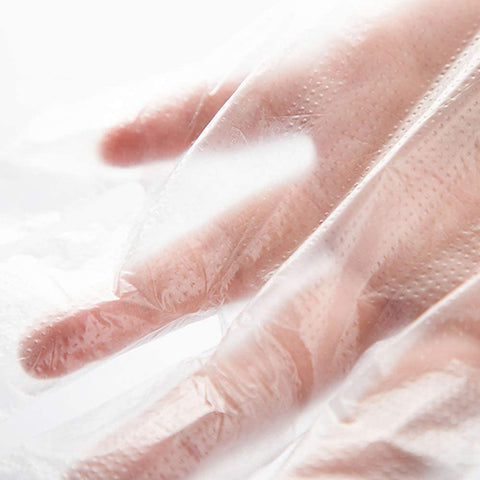 Disposable Plastic Gloves, 500 Pcs Plastic Disposable Clear Polyethylene Gloves for Food Prep, Cooking Cleaning, Food Handling, Hair Coloring, Powder and Latex Free