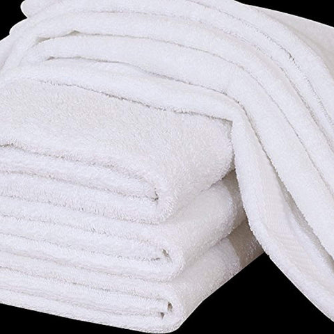 Premium Bath Towel (24 x 50 Inch- White ) 100% Cotton High Absorbency - Maz Tex Supply