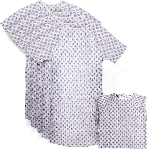 "6 Pack Cotton Blend Hospital Gown, Back Tie, 45"" Long & 61"" Wide, Patient Gowns Comfortably Fits Sizes up to 2XL"