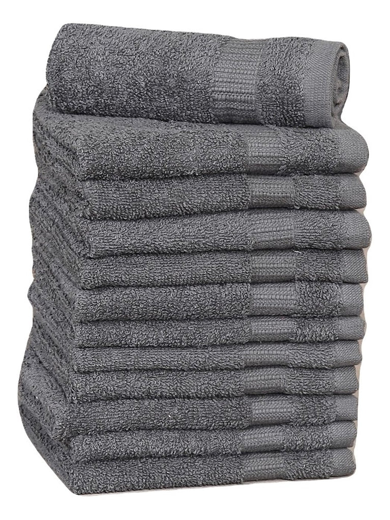 12 Premium Quality Washcloths (Grey -13x13 inches ) 1.5 lb/dz - Maz Tex Supply