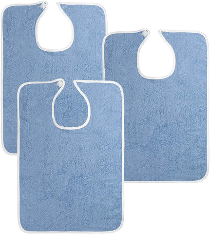 3 Pack Premium Quality Adult Terry Cloth Bibs, Blue, 100% Soft Cotton Reusable and Washable Bibs