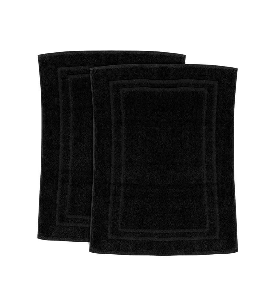 Bath Mat - (2 Pack - Black -22x34 Inch) - 100 % Ringspun Cotton 10 lb/dz - Maz Tex Supply