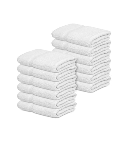 "12 New White 22""X44"" 100% Cotton Economy Bath Towels 6 lb/dz - Maz Tex Supply"