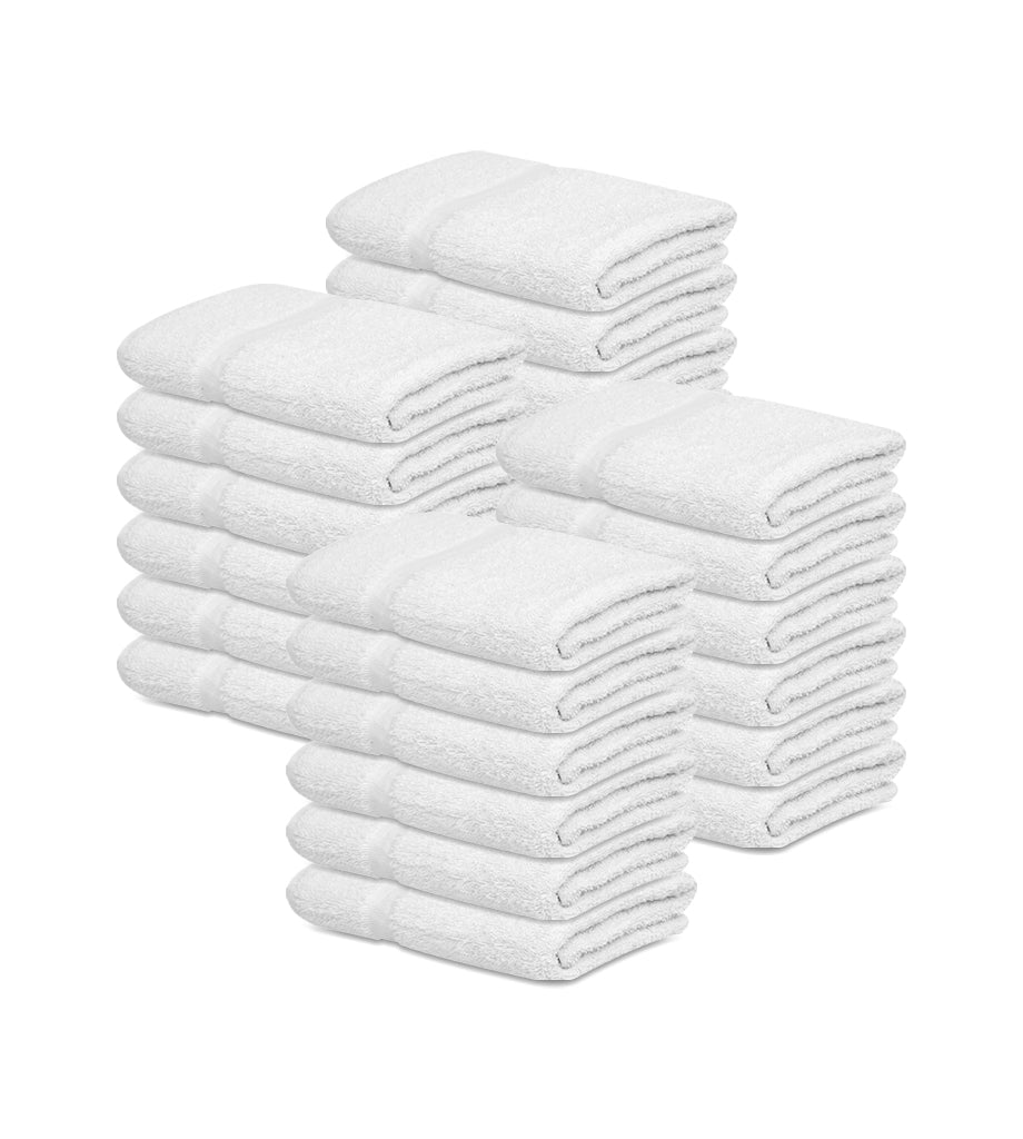 "12 Bath Towel (24""x48""- White) 100% Soft Cotton -Resort,Hotels/Motels,Gym use 8 lb/dz - Maz Tex Supply"
